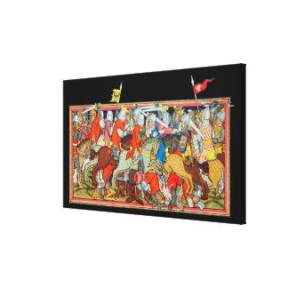 Iluminación única del manuscrito de la batalla med impresiones en lienzo estiradas