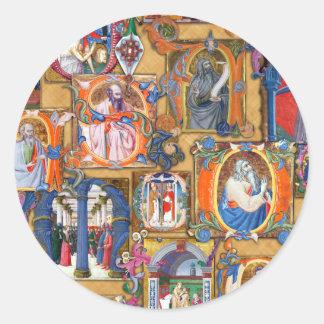 Iluminaciones medievales pegatinas redondas