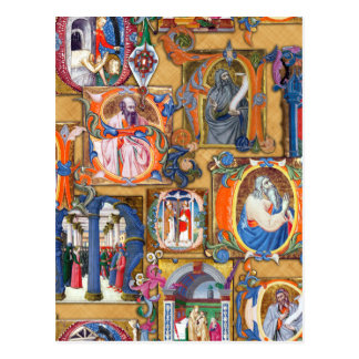 Iluminaciones medievales postal