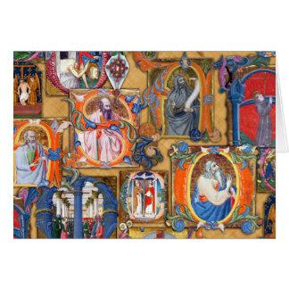 Iluminaciones medievales tarjeta de felicitación