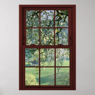 Ilusión #1 de la ventana de imagen de las flores póster