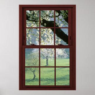 Ilusión #2 de la ventana de imagen de las flores póster