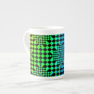 Ilusión a cuadros taza de porcelana