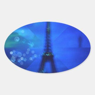 Ilusión azul de la torre Eiffel Pegatina Ovalada
