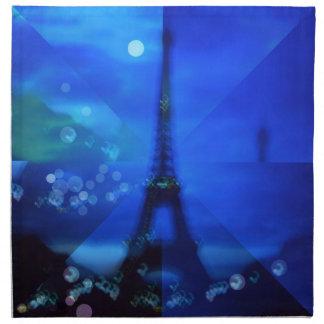 Ilusión azul de la torre Eiffel Servilleta