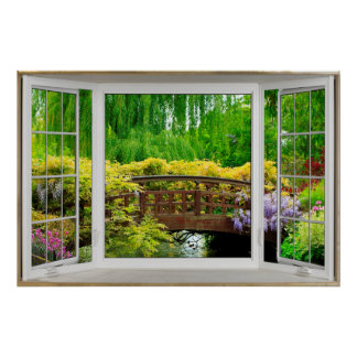 Ilusión blanca de la ventana salediza - paisaje póster