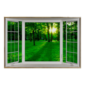 Ilusión blanca de la ventana salediza que pasa por póster