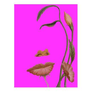 Ilusión de la flor de la cara postales