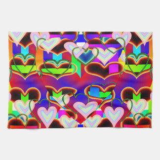 Ilusión de las toallas de cocina de los corazones