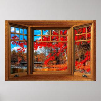 Ilusión de madera de la ventana salediza - paisaje póster