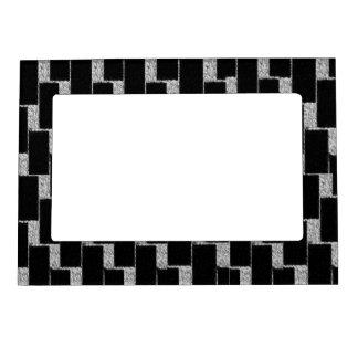 Ilusión de plata y negra foto de imanes