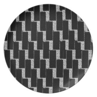 Ilusión de plata y negra plato de cena
