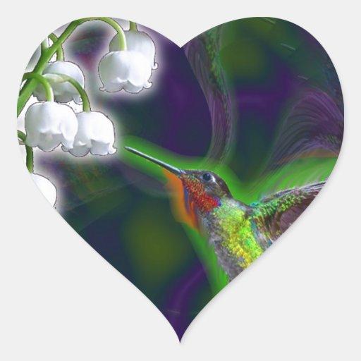 Ilusión del colibrí y del lirio de los valles pegatina en forma de corazón