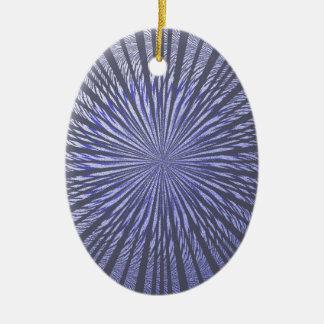 Ilusión del negro azul adorno ovalado de cerámica