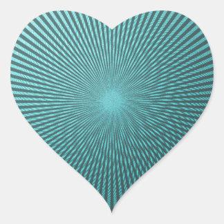 Ilusión del pavo real pegatina en forma de corazón