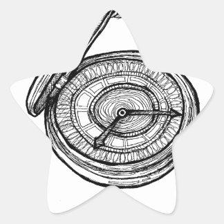 Ilusión del tiempo calcomania forma de estrella