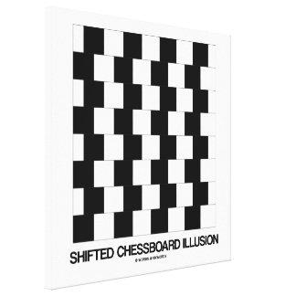 Ilusión desplazada del tablero de ajedrez (ilusión impresiones en lienzo estiradas
