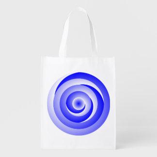 Ilusión espiral azul bolsas de la compra