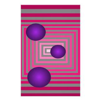 Ilusión gris púrpura rosada óptica del arte  papeleria