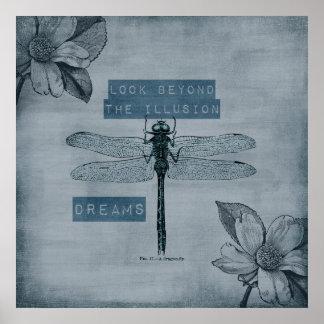 Ilusión ideal de la libélula póster