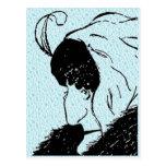 Ilusión, joven, postal de la mujer mayor