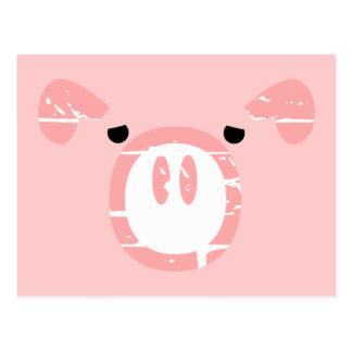 Ilusión linda de la cara del cerdo postales