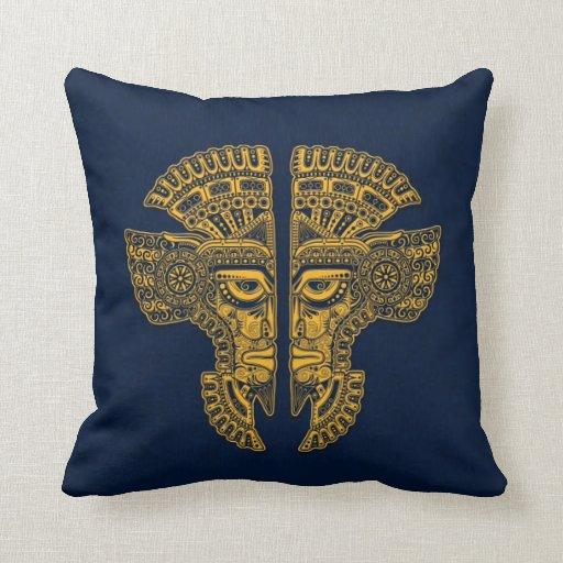 Ilusión maya amarilla de la máscara de los gemelos cojin