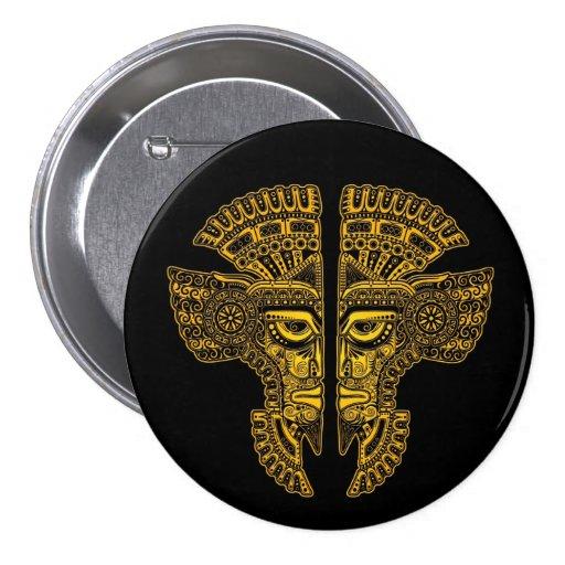 Ilusión maya amarilla de la máscara de los gemelos pins
