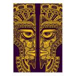 Ilusión maya amarilla de la máscara de los gemelos tarjeta de negocio