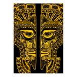 Ilusión maya amarilla de la máscara de los gemelos tarjetas de visita