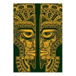 Ilusión maya amarilla de la máscara de los gemelos plantilla de tarjeta personal