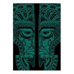 Ilusión maya azul de la máscara de los gemelos del tarjeta de visita