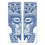 Ilusión maya azul de la máscara de los gemelos en comunicado personalizado