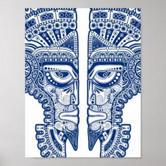 Ilusión maya azul de la máscara de los gemelos en  impresiones