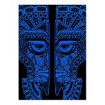 Ilusión maya azul de la máscara de los gemelos en  tarjeta de visita
