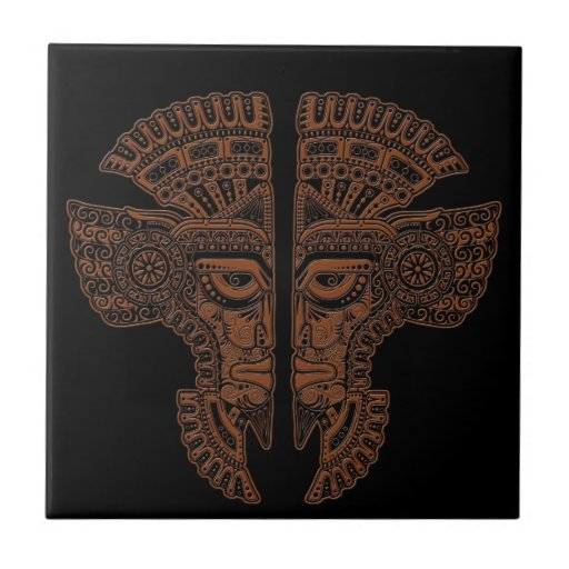 Ilusión maya de la máscara de los gemelos de Brown Azulejo