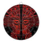 Ilusión maya roja de la máscara de los gemelos en  tablero de dardos