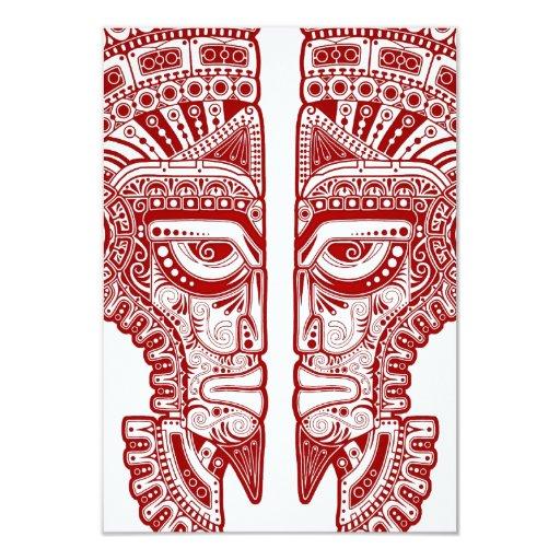 """Ilusión maya roja de la máscara de los gemelos en invitación 3.5"""" x 5"""""""