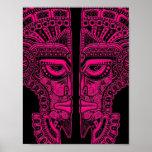 Ilusión maya rosada de la máscara de los gemelos e impresiones
