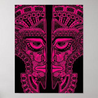Ilusión maya rosada de la máscara de los gemelos e póster