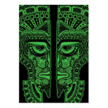 Ilusión maya verde de la máscara de los gemelos en plantilla de tarjeta de visita