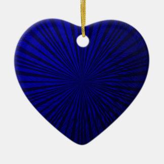 Ilusión metálica azul adorno de cerámica en forma de corazón
