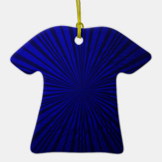 Ilusión metálica azul adorno de cerámica en forma de playera