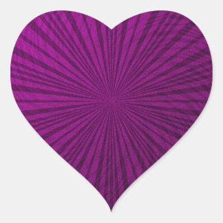 Ilusión metálica púrpura pegatina en forma de corazón