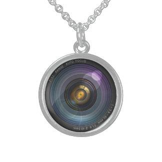 ilusión ocultada secreto de la lente de cámara collar de plata esterlina