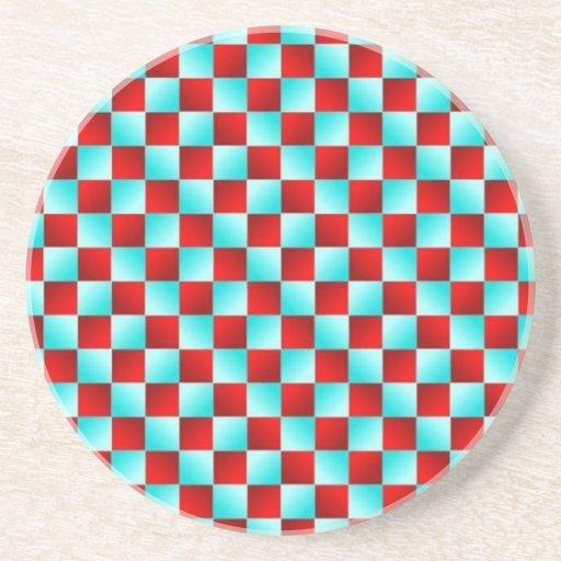 Ilusión óptica a cuadros posavasos diseño