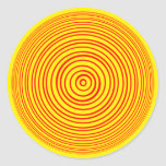 Ilusión óptica amarilla roja de Oddisphere Pegatina Redonda
