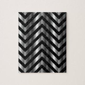 Ilusión óptica con las barras de metal y las línea puzzles con fotos