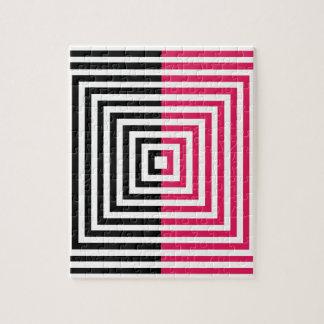 Ilusión óptica con los cuadrados puzzle con fotos