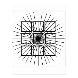 Ilusión óptica cuadrada postal